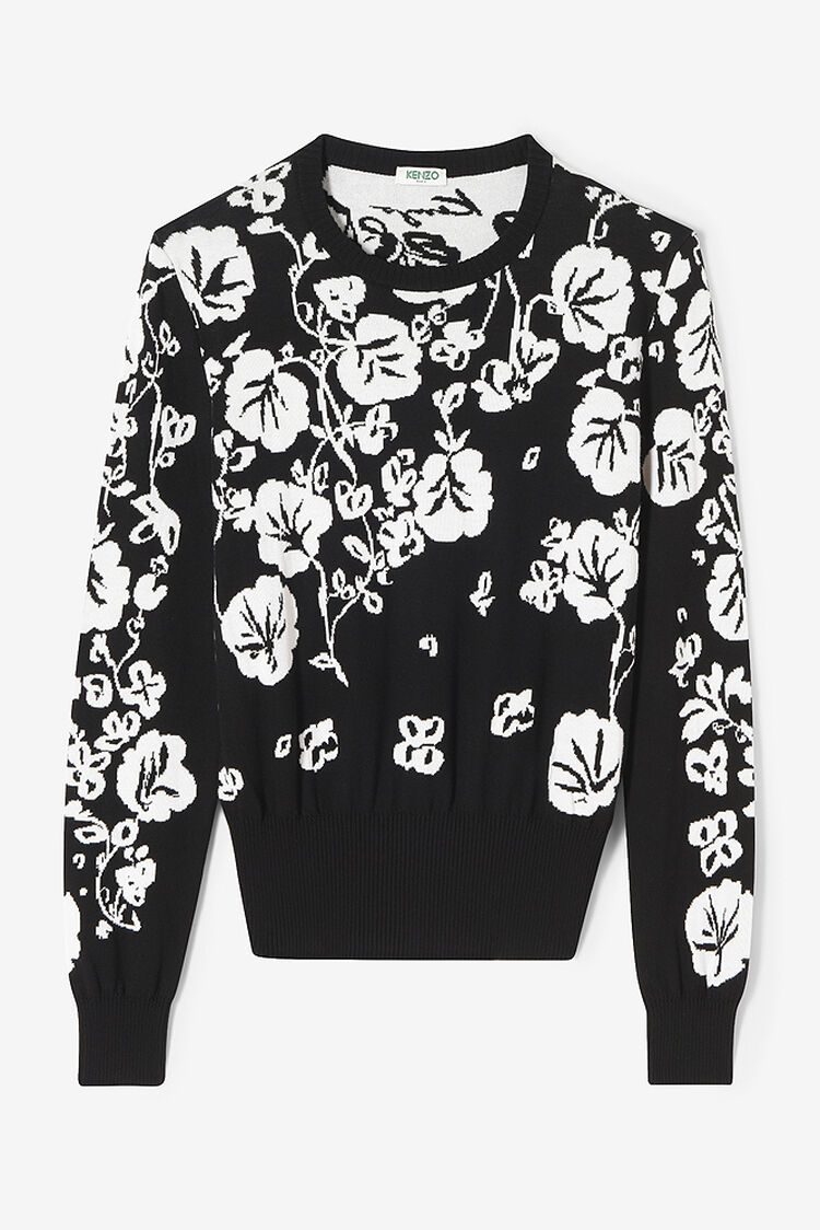 BLACK Flower Leaf sweater for women KENZO