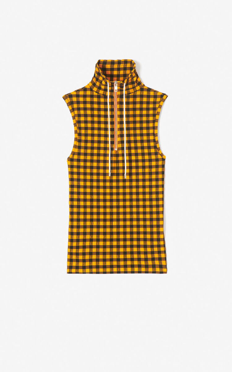 MEDIUM ORANGE Gingham sleeveless top for women KENZO