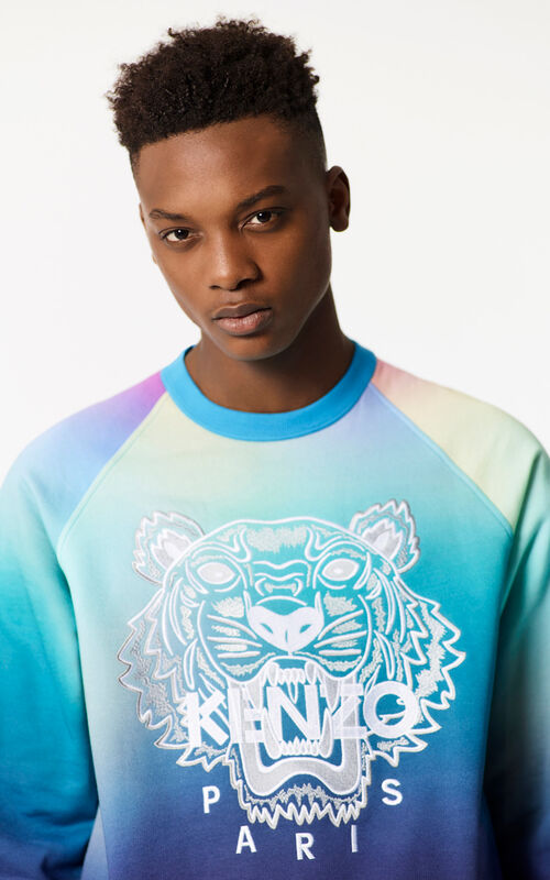 CYAN Rainbow Tiger Sweatshirt for men KENZO