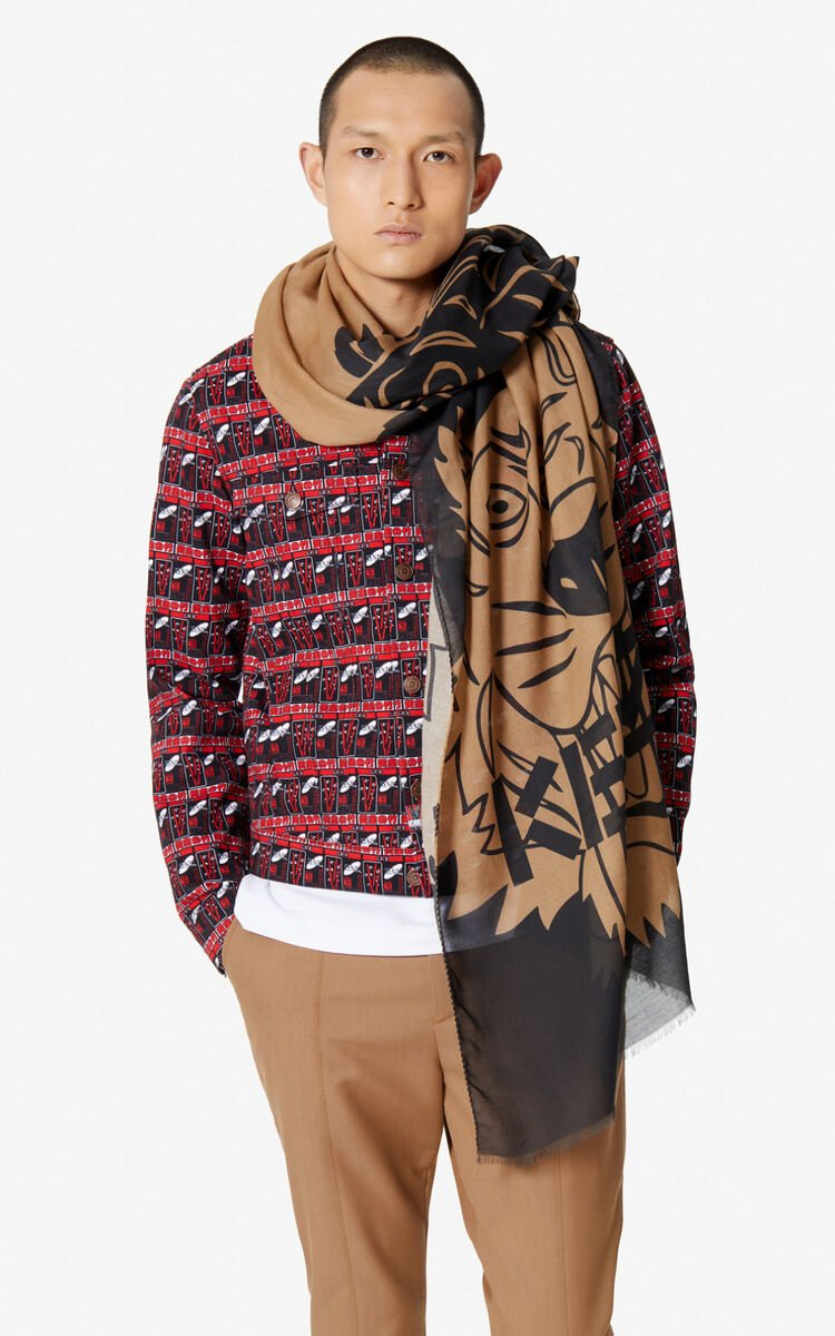 CAMEL Tiger scarf  for unisex KENZO
