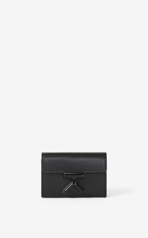 BLACK KENZO K mini leather wallet for women