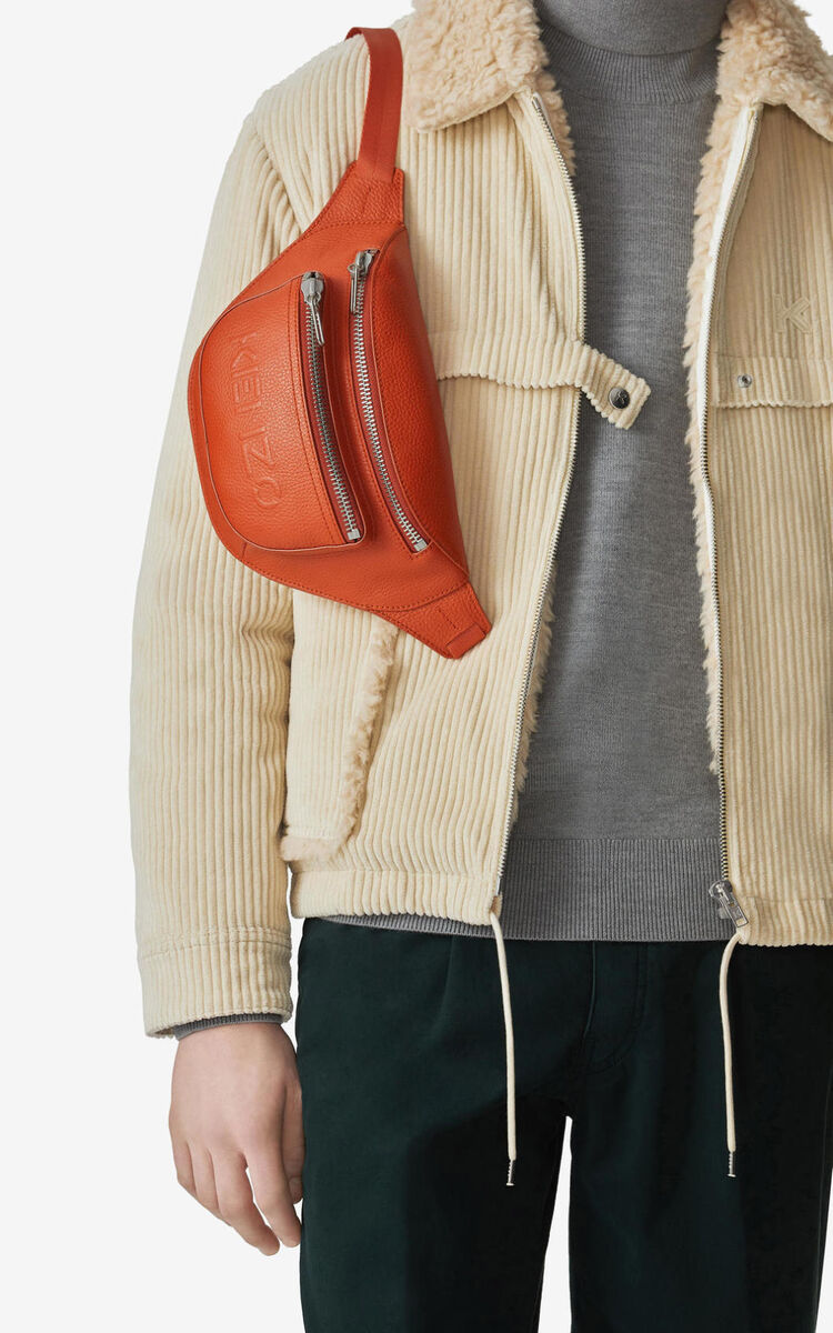 PAPRIKA KENZO Imprint grained leather bumbag for unisex