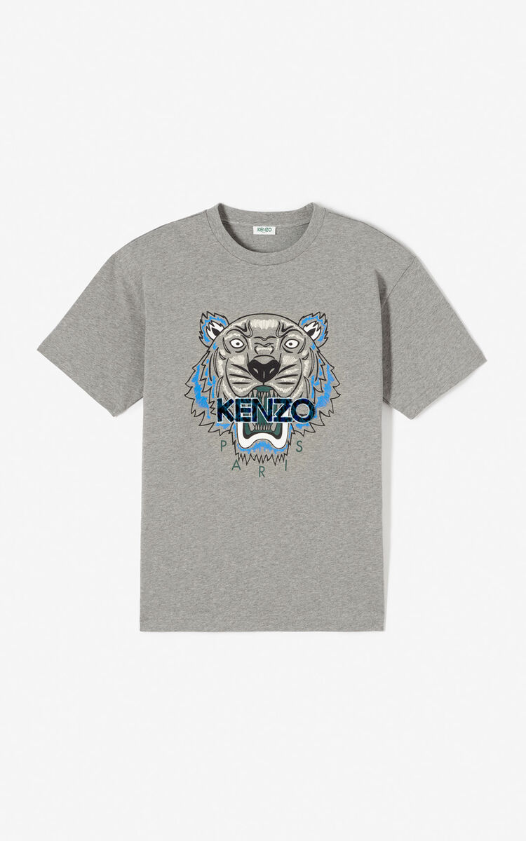 DOVE GREY 'Leopard' Tiger t-shirt for women KENZO