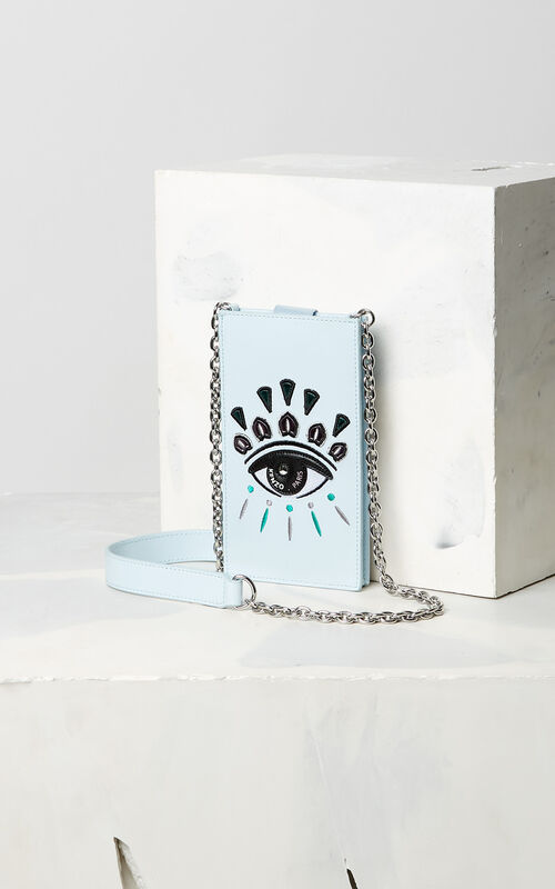 SKY BLUE Eye phone case with chain for unisex KENZO