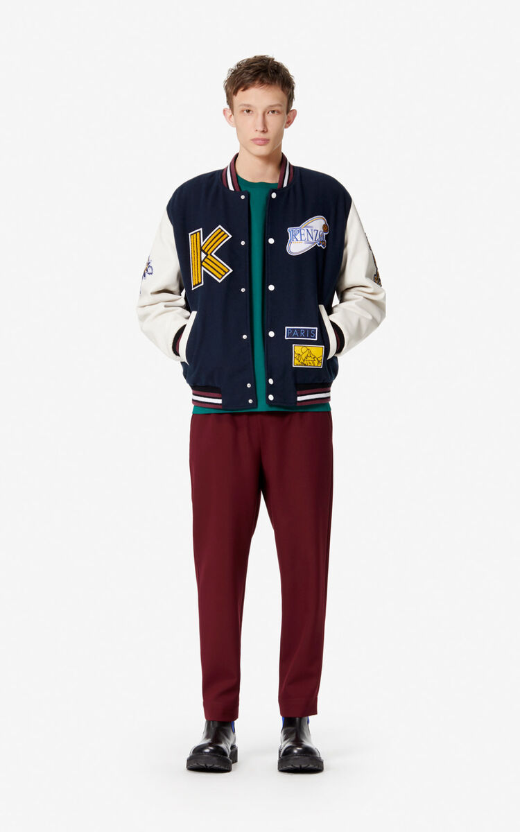 NAVY BLUE Varsity 'Tiger mountain' jacket for men KENZO