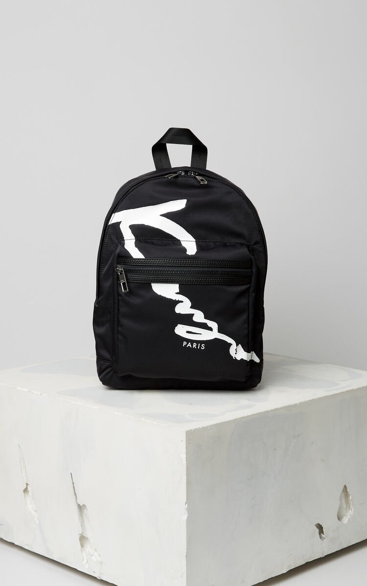 BLACK Medium KENZO Signature backback for unisex