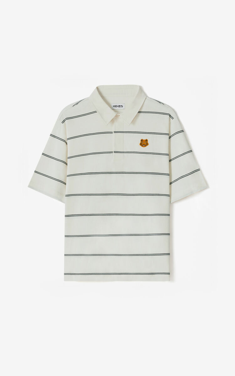 ECRU Oversize striped polo for women KENZO