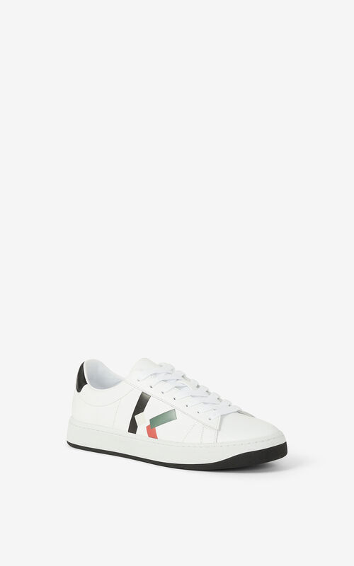 BOTTLE GREEN KENZO Kourt K Logo leather sneakers for women