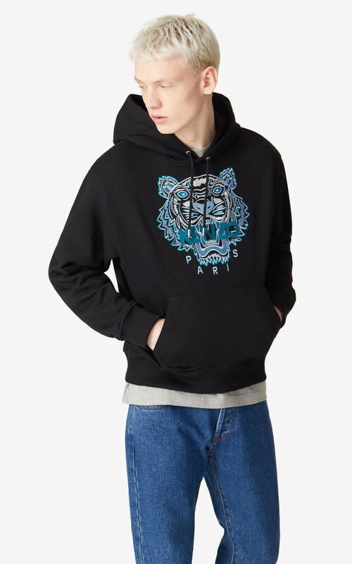 BLACK Tiger hooded sweatshirt for men KENZO