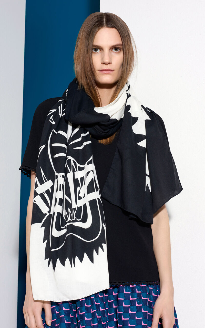 Tiger Chest Scarf, WHITE, KENZO