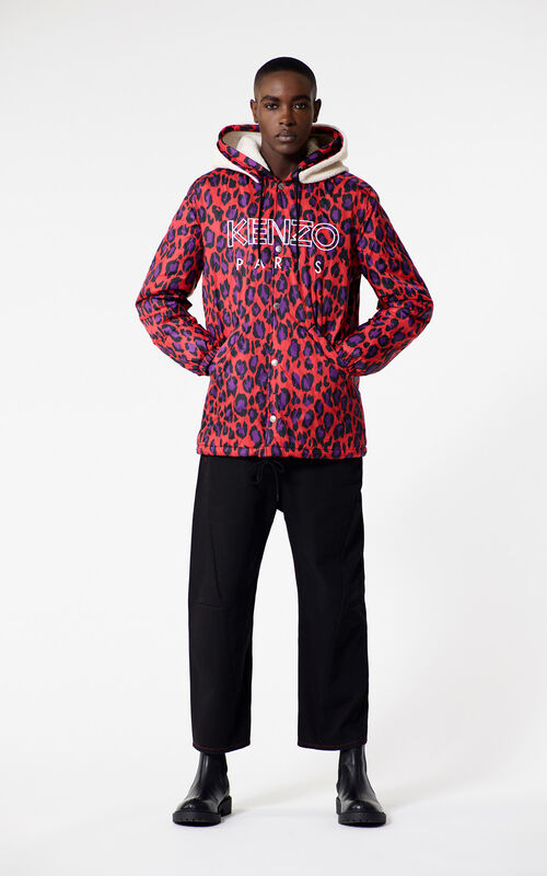 MEDIUM RED Leopard print KENZO Paris parka for men