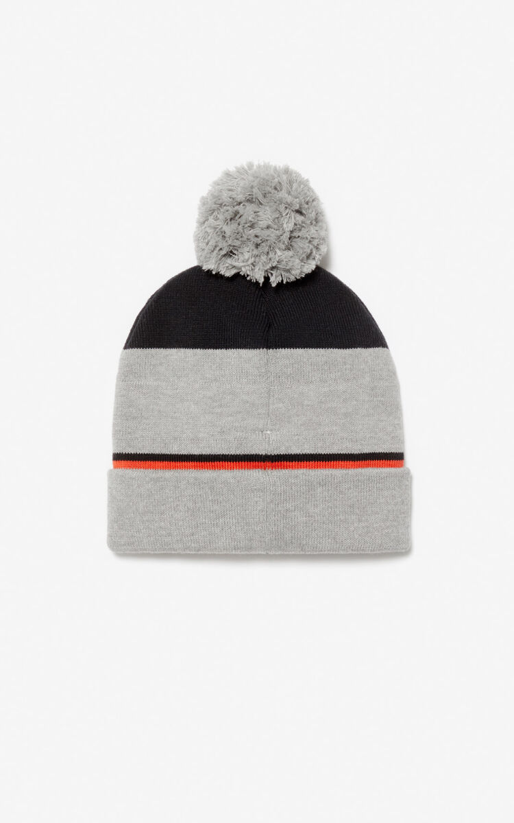 MISTY GREY KENZO logo beanie for women