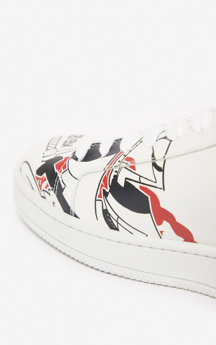 WHITE 'Kung Fu Rat' Tennix trainers for women KENZO