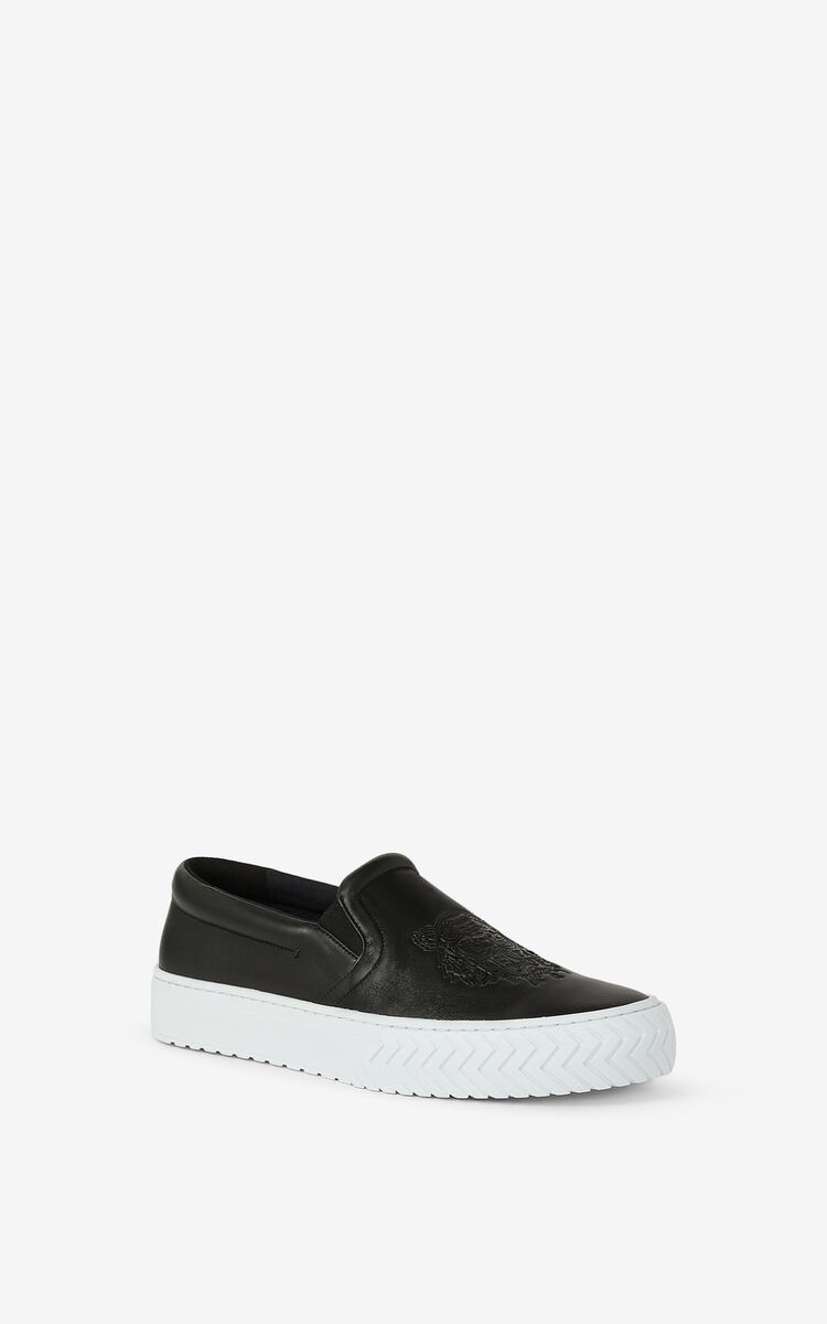 BLACK Leather K-Skate Tiger sneakers without laces for women KENZO