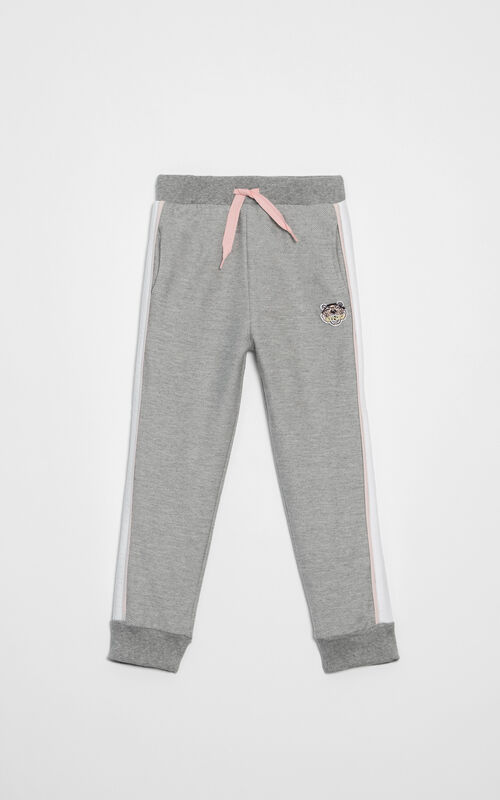 PALE GREY Tiger crest sweats pants for women KENZO