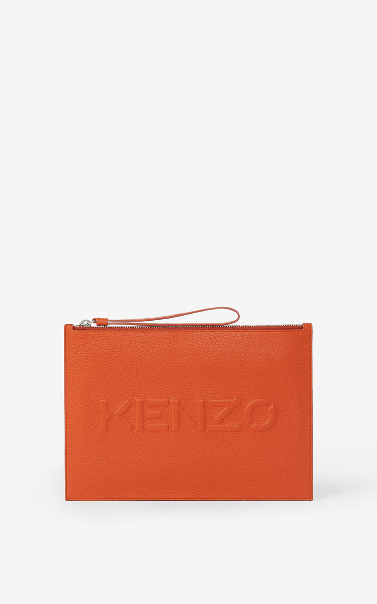 PAPRIKA KENZO Imprint large grained leather pouch for unisex