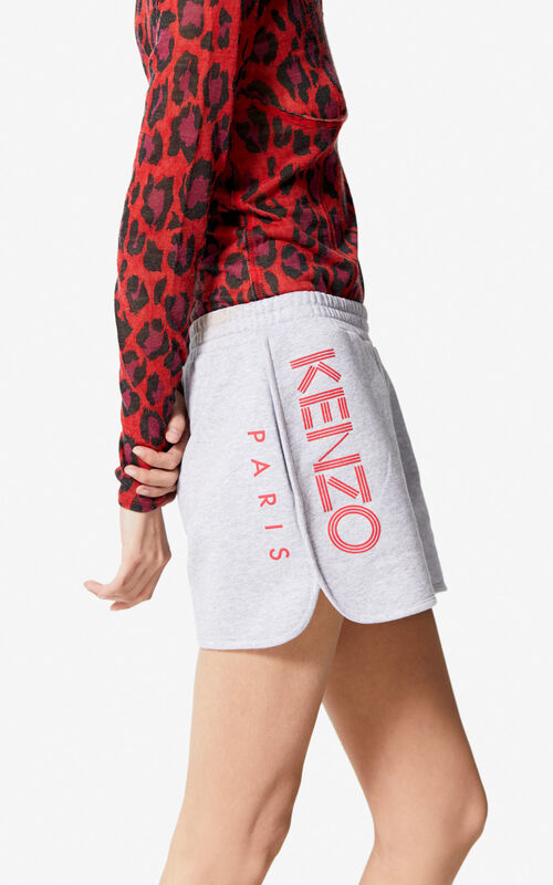 PALE GREY KENZO Logo shorts for women