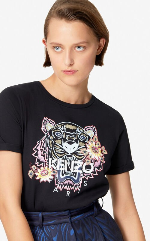 BLACK 'Passion Flower' Tiger T-shirt for women KENZO