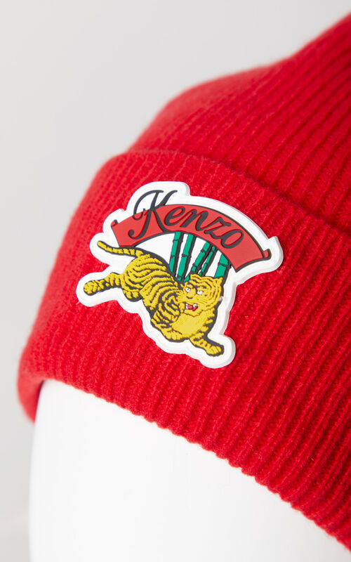 MEDIUM RED 'Jumping Tiger' beanie for unisex KENZO
