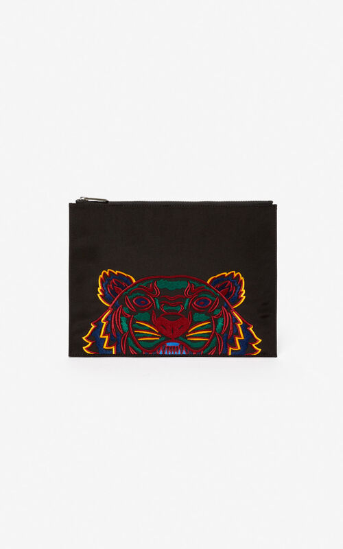 BLACK A4 Tiger Canvas clutch for unisex KENZO