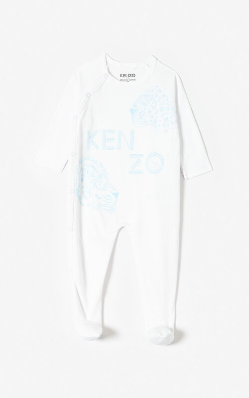 LIGHT BLUE 'Tiger Friends' sleepsuit and hat set for unisex KENZO
