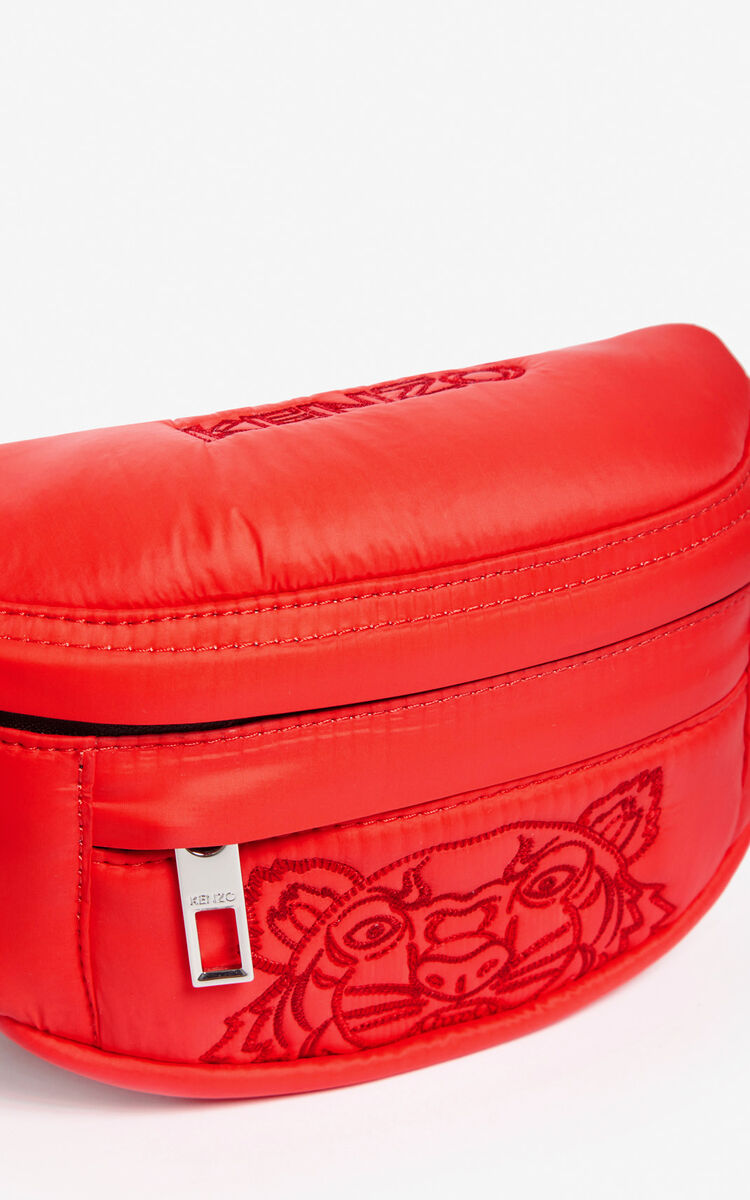 MEDIUM RED Mini belt bag with embroidered Tiger for unisex KENZO