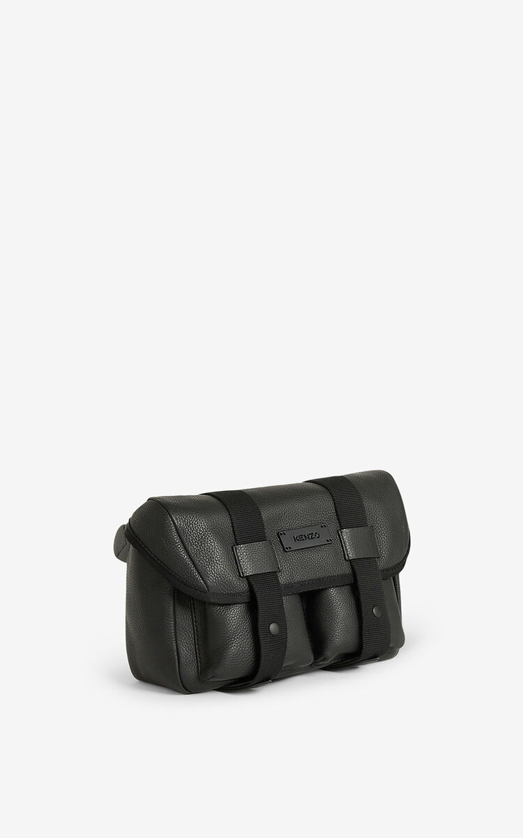 BLACK Courier grained leather belt bag for women KENZO
