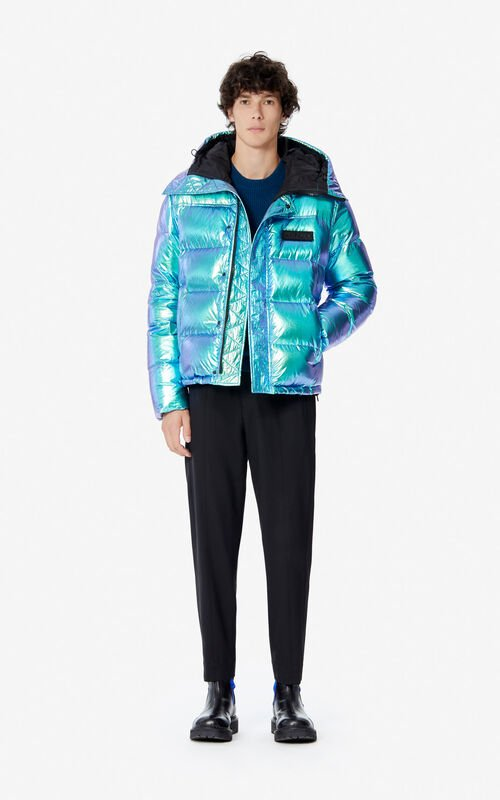 TURQUOISE 'Holiday Capsule' hooded quilted jacket for men KENZO