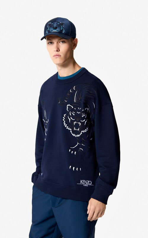 MIDNIGHT BLUE Satin Tiger cap 'Holiday Capsule' for men KENZO