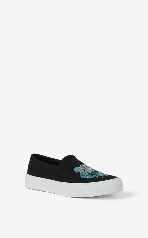 BLACK Canvas slip-on K-Skate Tiger sneakers for unisex KENZO