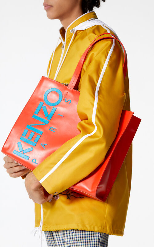 MEDIUM RED Leather Kenzo logo tote bag for women
