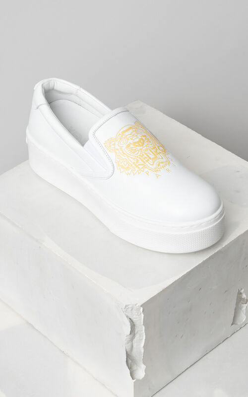 Tiger Slip-on Platform, WHITE, KENZO