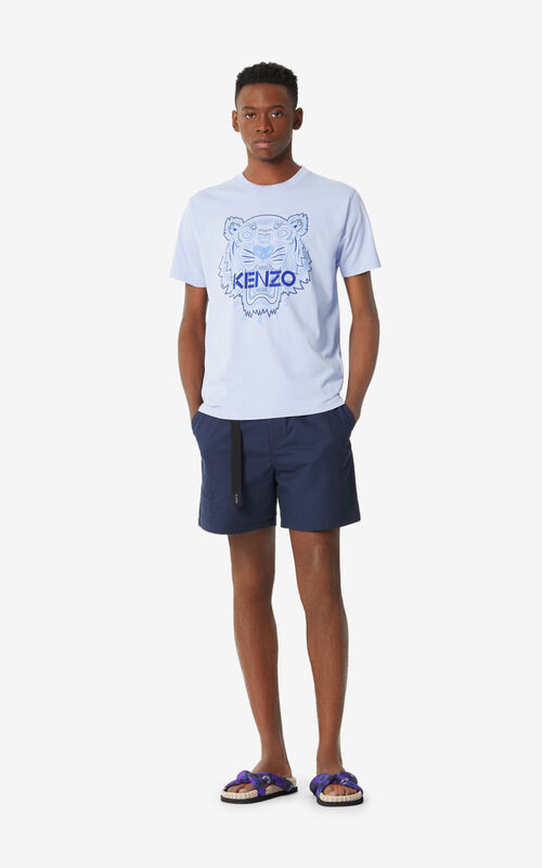MIDNIGHT BLUE 'High Summer Capsule Collection' belted shorts for women KENZO