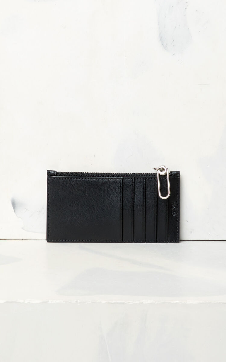 BLACK KENZO Logo leather card holder for global.none
