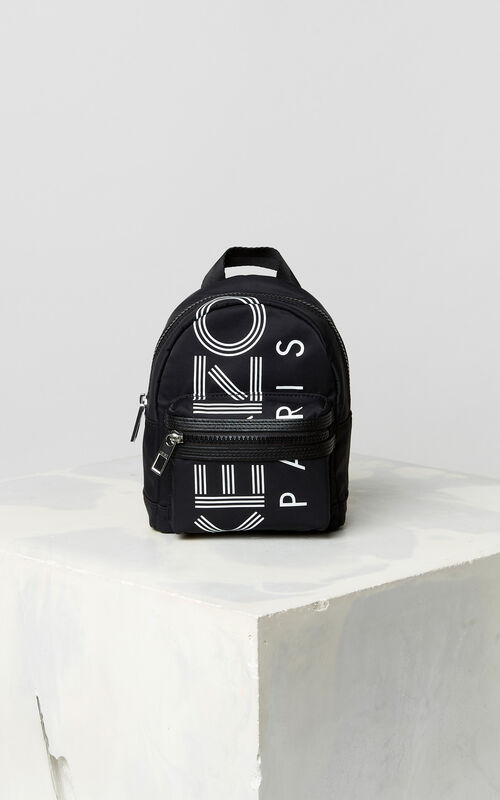 BLACK KENZO Logo mini rucksack for unisex