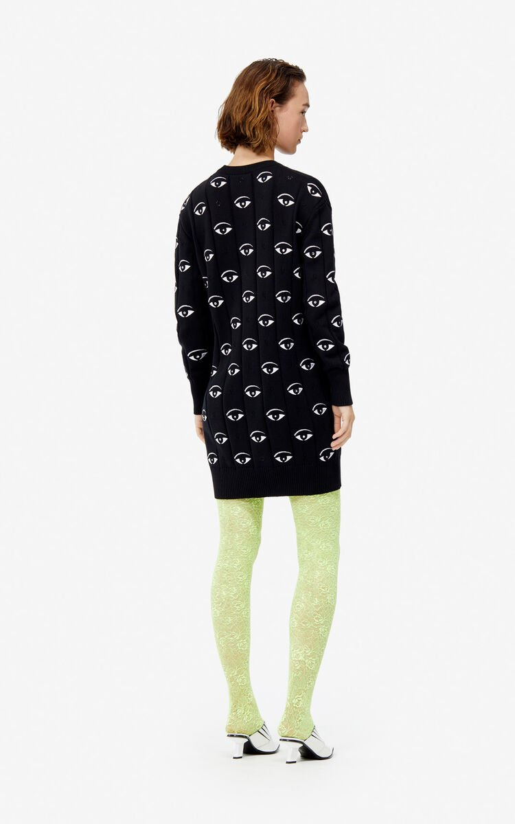 BLACK Multi Eye knit dress for women KENZO