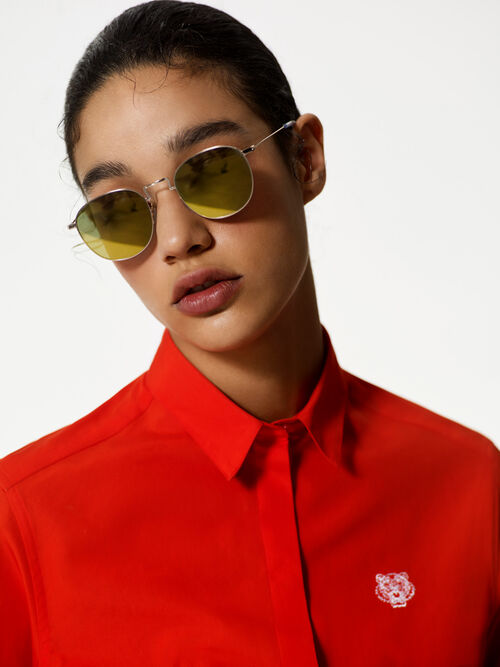 GOLD Flat Lens 'Knox' Sunglasses for women KENZO