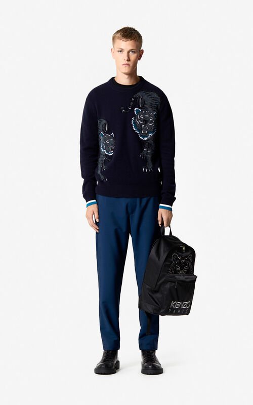 491d09ae6511f ... Pull  Double Tigre   Capsule Holiday  BLEU NUIT homme KENZO