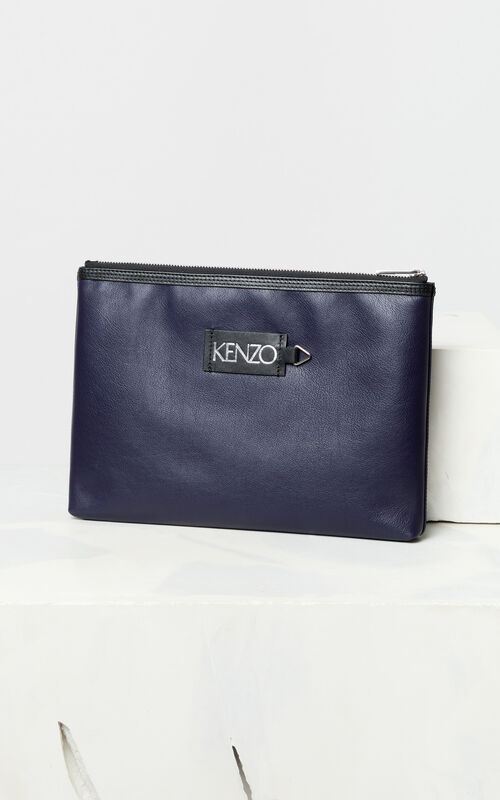 NAVY BLUE Leather 'Tiger Head' A4 clutch 'Go Tigers Capsule' for men KENZO