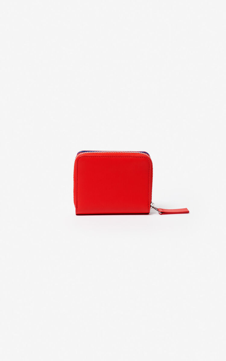 MEDIUM RED Small two-tone K-Bag leather wallet for unisex KENZO