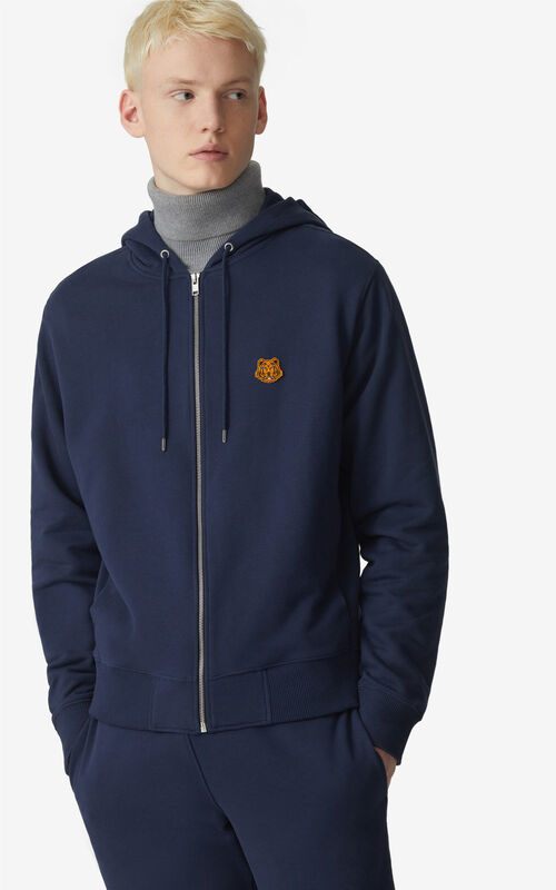NAVY BLUE Tiger Crest zipped hoodie for men KENZO