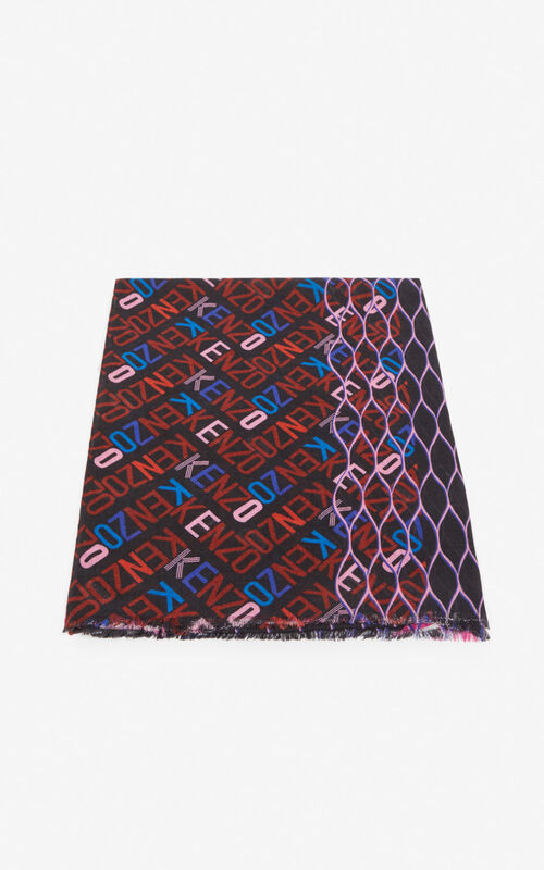 DEEP FUSCHIA Multi-icon scarf for unisex KENZO