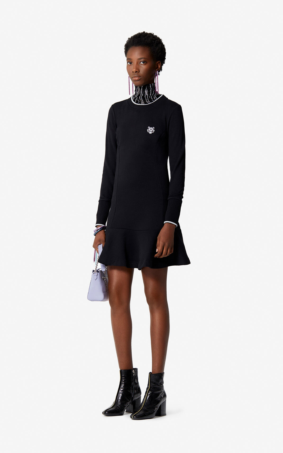BLACK Tiger Crest Fit & Flare dress for women KENZO