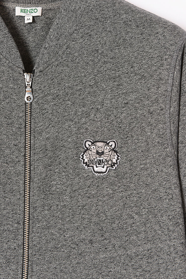 ANTHRACITE Zipped Sweatshirt with Tiger Crest for women KENZO