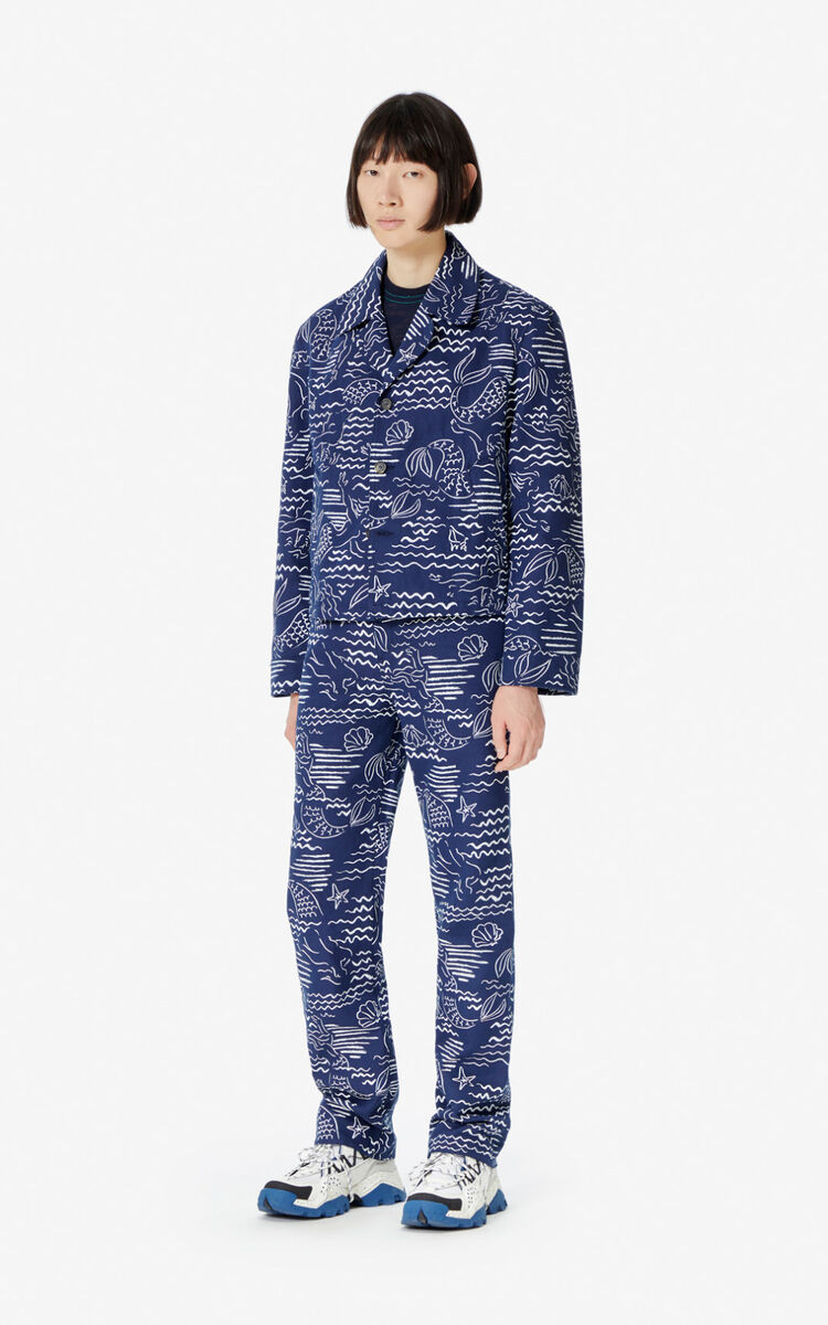 MIDNIGHT BLUE 'Wave Mermaid' jeans for men KENZO