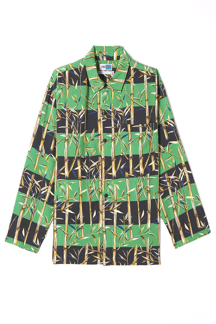 GRASS GREEN 'Bamboo Stripes' shirt for men KENZO