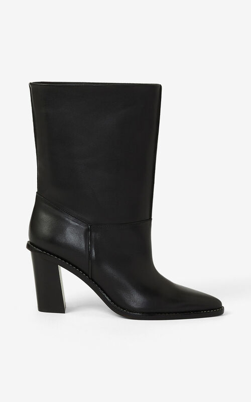 BLACK K-Line heeled leather ankle boots for women KENZO