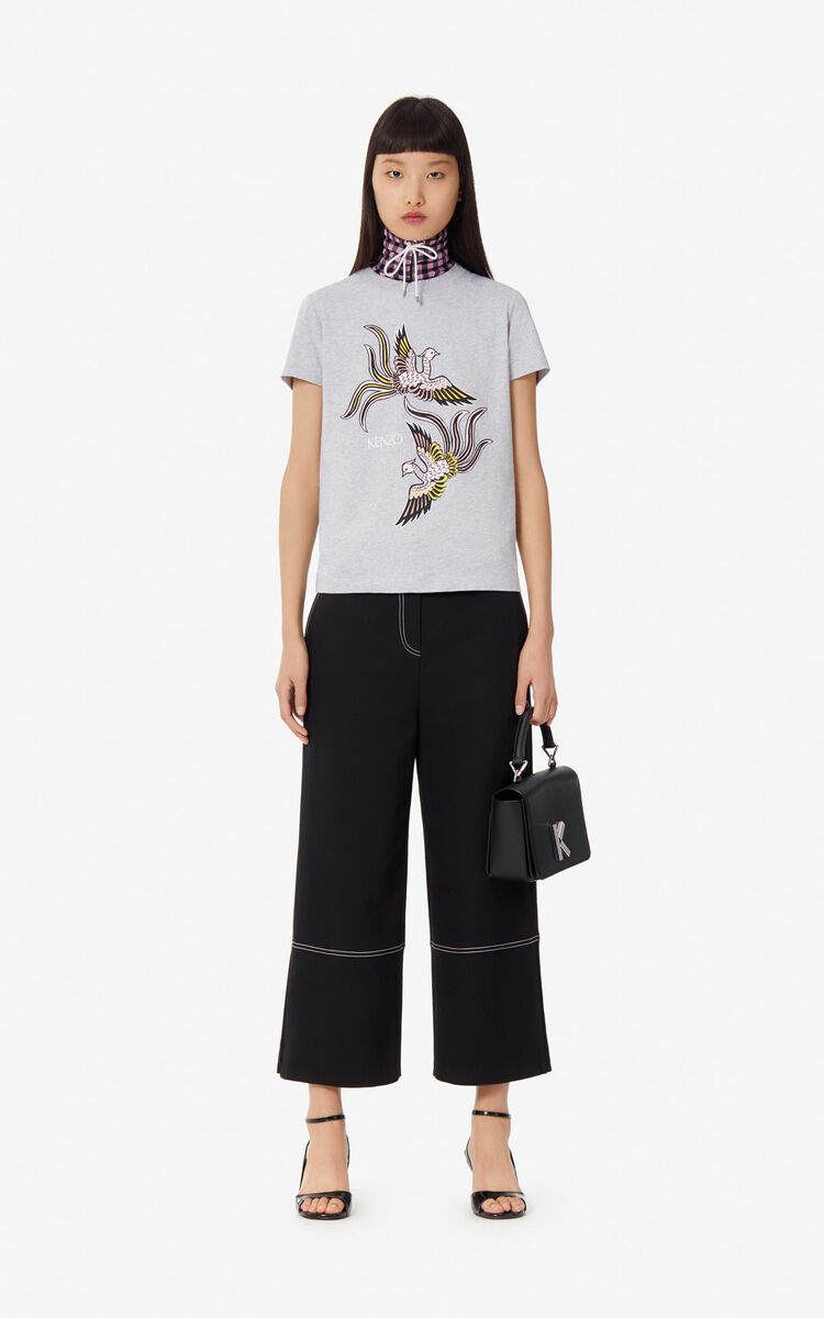 PALE GREY 'Flying Phoenix' T-shirt for women KENZO