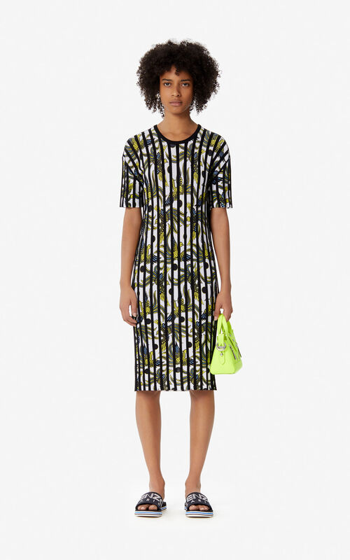 WHITE 'Flying Phoenix' pleated dress for women KENZO