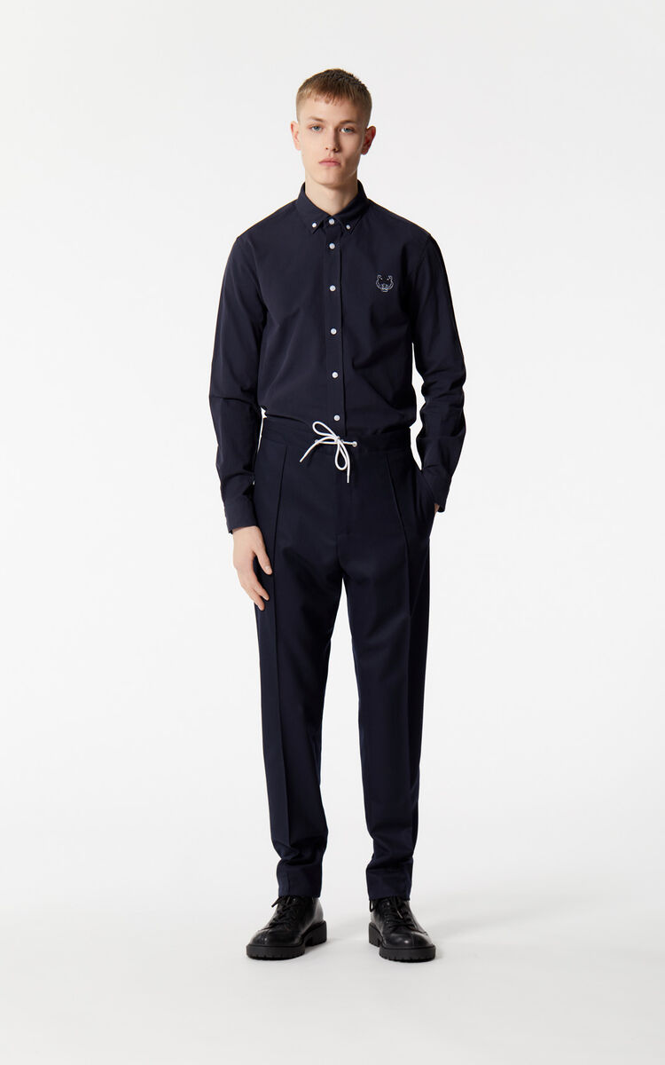 MIDNIGHT BLUE Flannel pleated trousers for men KENZO